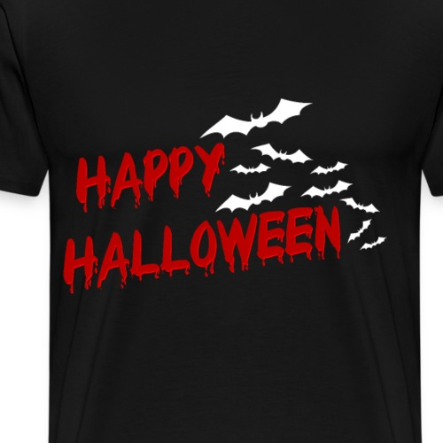 Happy Halloween Fledermaus Schriftzug Geschenk - Männer Premium T-Shirt