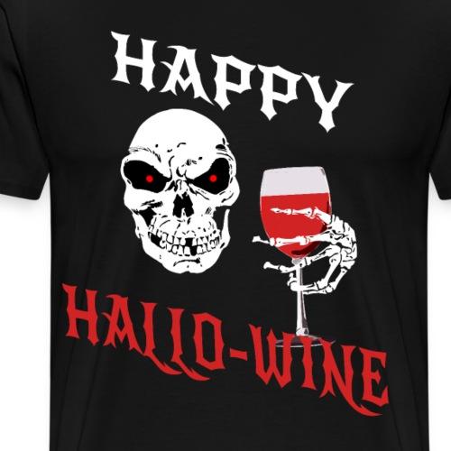 Happy Hallo Wine Halloween Wein Totenkopf Geschenk - Männer Premium T-Shirt
