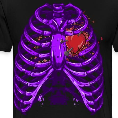 Halloween Skelett mit Herz als blutiger Spaß - Männer Premium T-Shirt