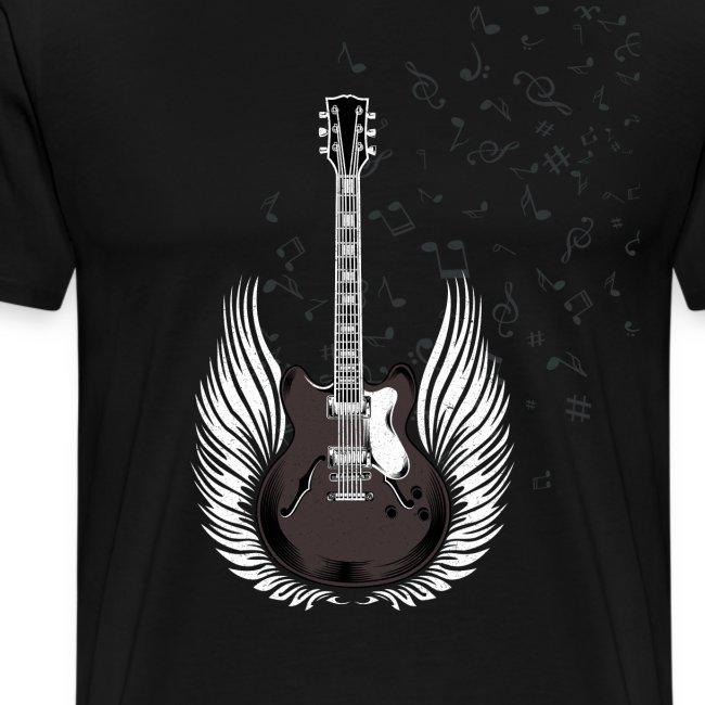Gitarre mit Flügeln und Noten Musiker Geschenkidee