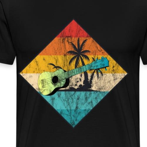 Ukulele mit Palmen Strand Geschenkidee - Männer Premium T-Shirt
