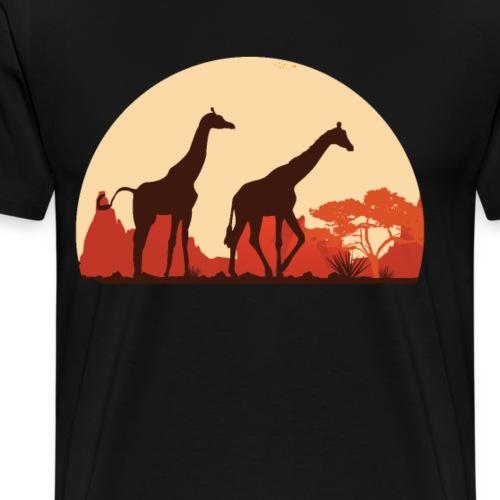 Giraffen Sonnenuntergang Afrika Geschenke - Männer Premium T-Shirt