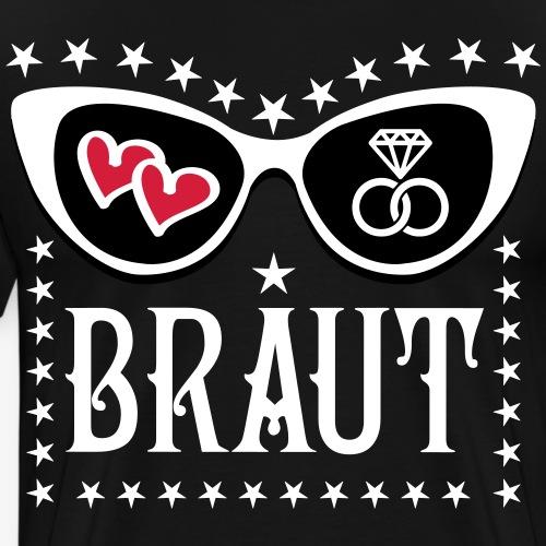 107 JGA Braut Herzen Diamant Ring Brille Glamour - Männer Premium T-Shirt