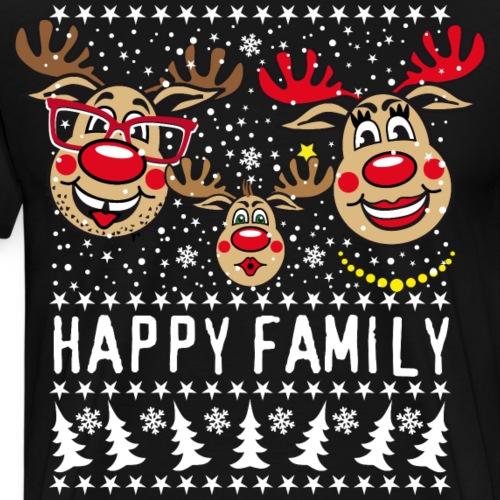 94 Hirsch Rudolph HAPPY FAMILY Papa Mama Kind - Männer Premium T-Shirt