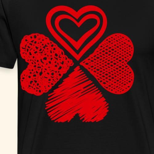 Vierkleeblatt aus vier Herzen Valentinstag - Männer Premium T-Shirt