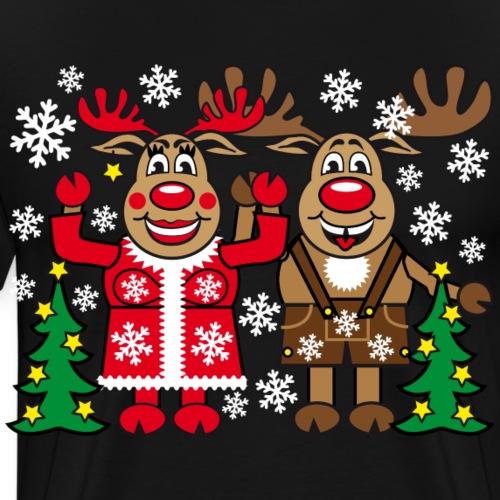 51 Hirsch Rentier Rudolph Frau Rudolphine lustig - Männer Premium T-Shirt