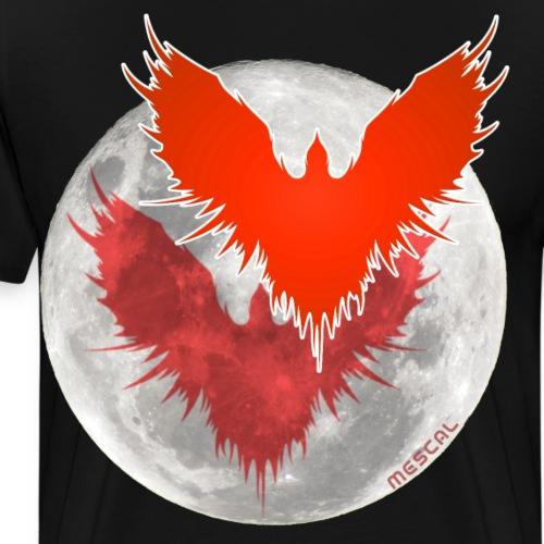 Corvo rosso vola e Luna - By Mescal - Maglietta Premium da uomo