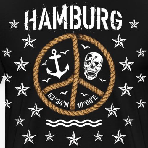 103 Hamburg Totenkopf Koordinaten Peace Anker Seil - Männer Premium T-Shirt