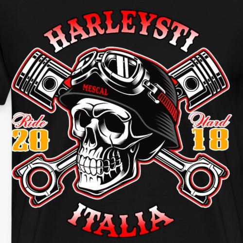 Harleysti Italia - Teschio e pistoni - Ride Hard - Maglietta Premium da uomo
