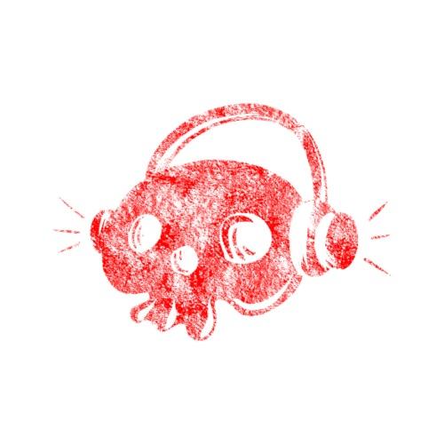Calavera de música roja - Camiseta premium hombre