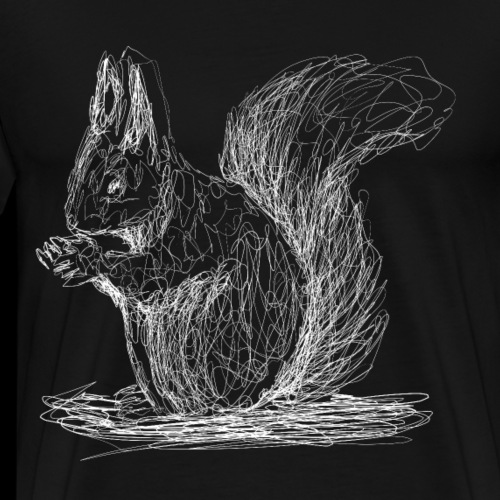 Eichhörnchen, weiß, Lineart - Männer Premium T-Shirt