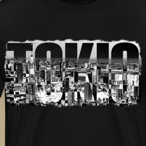 Tokio Tower und Skyline Grunge Effekt - Männer Premium T-Shirt