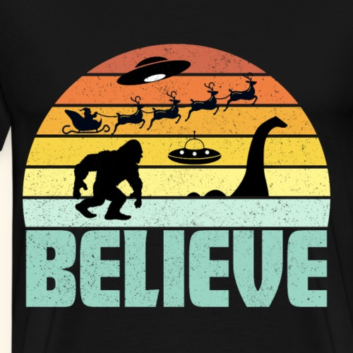 Believe Santa Claus Bigfood Nessie UFO Retro Sonne - Männer Premium T-Shirt