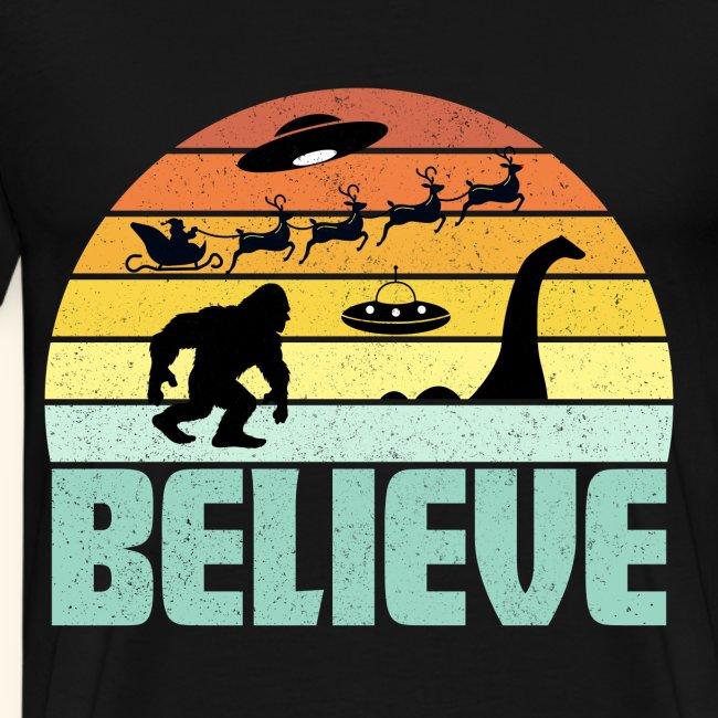 Believe Santa Claus Bigfood Nessie UFO Retro Sonnenuntergang Langarmshirt