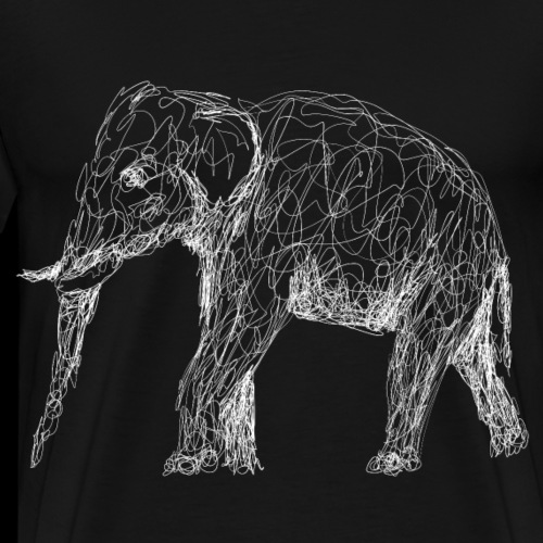 Elefant, weiß, Lineart - Männer Premium T-Shirt