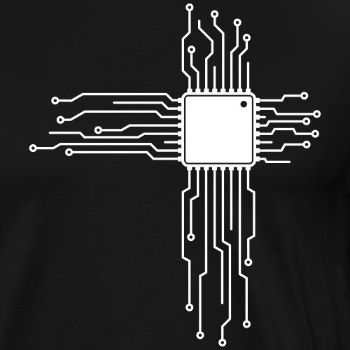 Platine als Herz - Computer CPU Nerd T-Shirt - Männer Premium T-Shirt