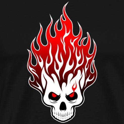 CALAVERA LLAMAS ROJAS - Camiseta premium hombre