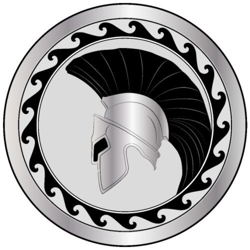 elmo greco e scudo, troiano, argento-nero - Maglietta Premium da uomo