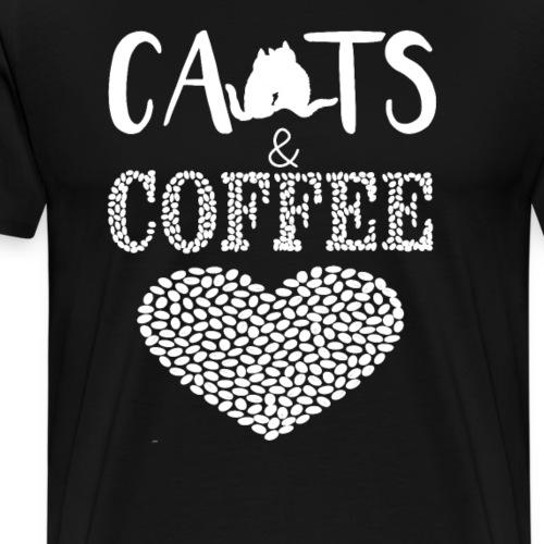 Katzen und Kaffee Liebe Weisse Schrift - Männer Premium T-Shirt