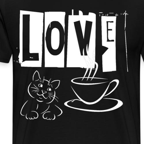 Love Katzen und Kaffee Liebe - Männer Premium T-Shirt