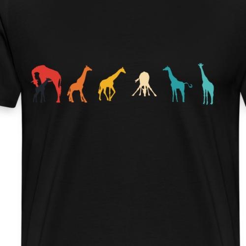 Giraffen Silhouetten Retrofarben coole Geschenke - Männer Premium T-Shirt