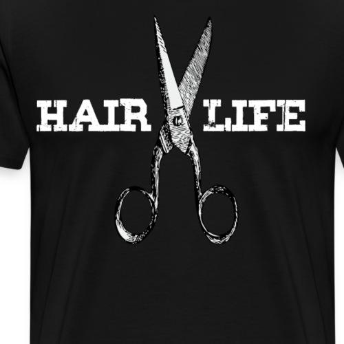 Hair Life Kapper Shop Kapster Salon Fun Pun Design - Mannen Premium T-shirt