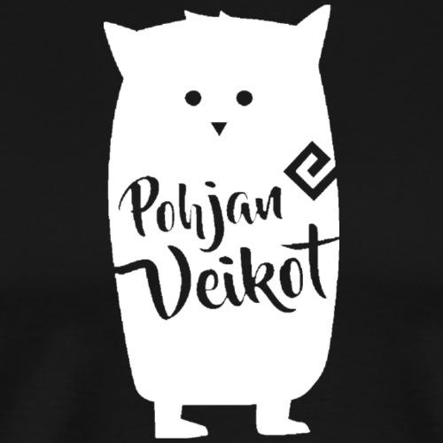 Veikko-pöllö valkoinen - Miesten premium t-paita