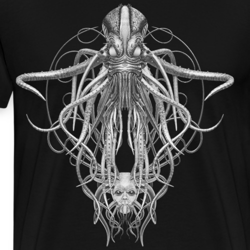 Cthulhu No.4 in Black and White - Men's Premium T-Shirt