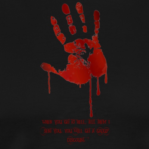 bloody hand diagonal with quote - Herre premium T-shirt