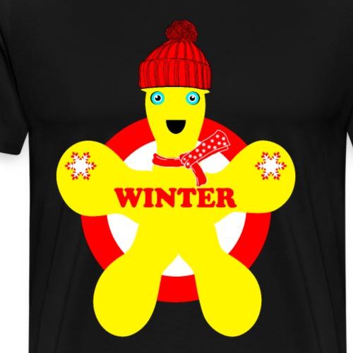 Hiver neige Noël bonhomme jaune - T-shirt Premium Homme