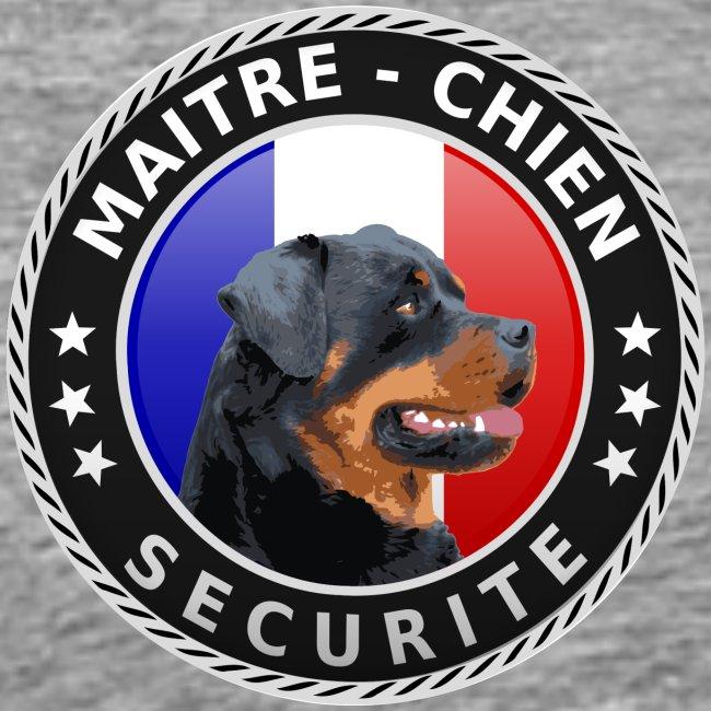 Ecusson rond noir Maitre-Chien Rottweiler