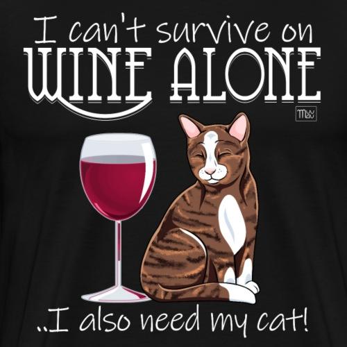 Wine Alone Cat - Miesten premium t-paita