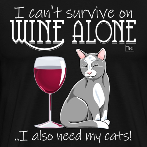 Wine Alone Cats - Miesten premium t-paita