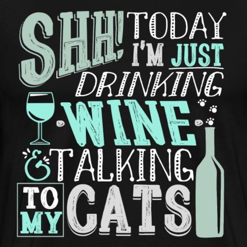SHH Wine Cats Cyan - Miesten premium t-paita