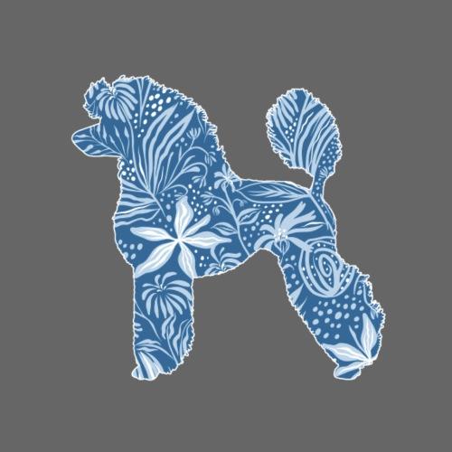 Flower Poodle Blue - Miesten premium t-paita