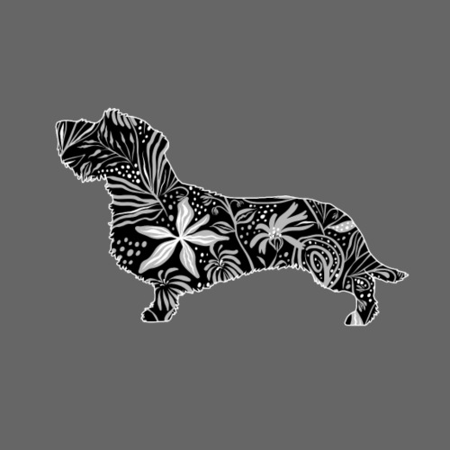 Flower Dachshund WH - Miesten premium t-paita