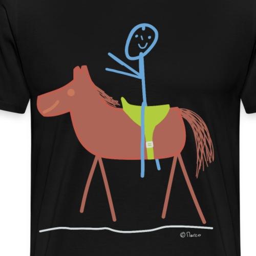 Reiter Strichmännchen Mann Tier Pferd reiten - Männer Premium T-Shirt