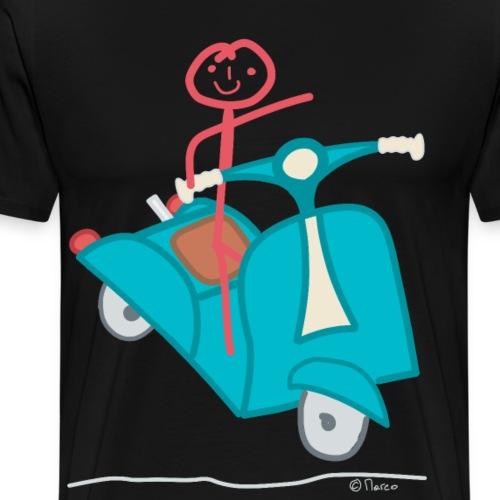 Motorroller Frau Strichfrau Fahrerin Verkehr - Männer Premium T-Shirt