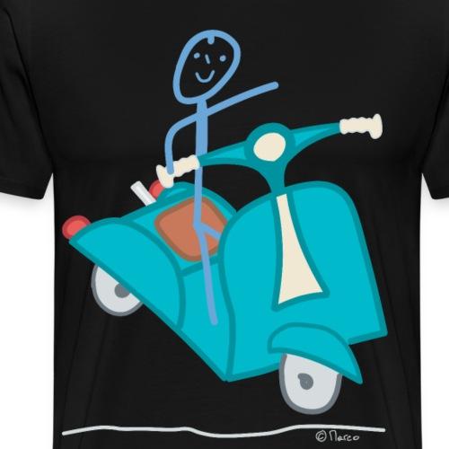 Motorroller Mofa Motorrad Strichmännchen Fahrer - Männer Premium T-Shirt