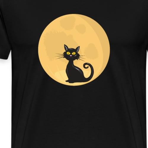 Süße Katze vor dem Mond. Schatten vor Vollmond - Männer Premium T-Shirt