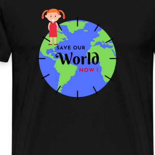 Save our world now. Mädchen vor der Weltkugel - Männer Premium T-Shirt