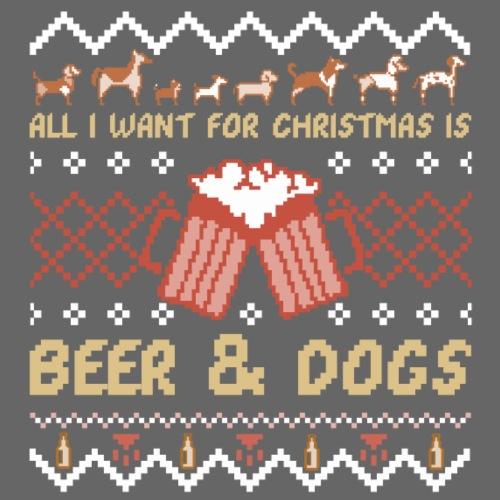 Beer and Dogs Christmas - Miesten premium t-paita