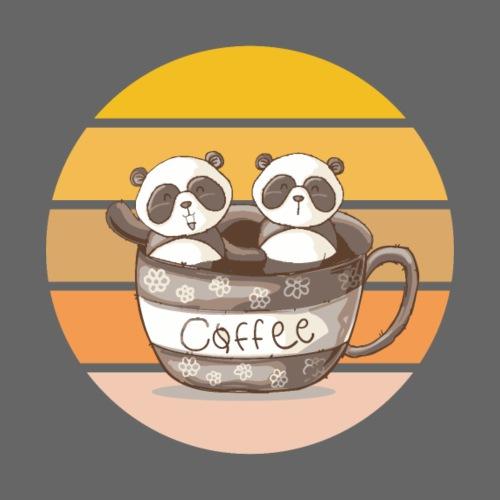 Zwei kleine Pandas in einer Kaffeetasse Koffeein - Männer Premium T-Shirt