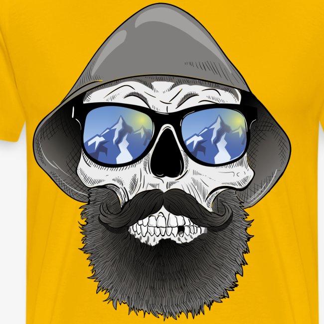 Totenkopf mit sonnenbrille und hut