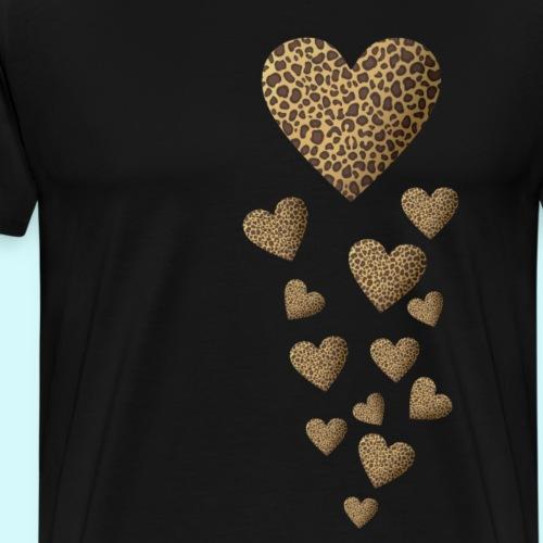 Leopardenmuster Herzen - Raubkatze - Männer Premium T-Shirt