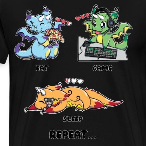 Eat Game Sleep Repeat - Gaming Dragon Geek Life - Men's Premium T-Shirt