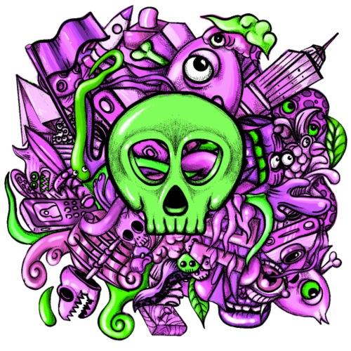 Doodle Skull Pink - Camiseta premium hombre
