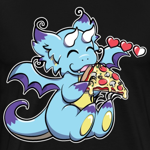 Blue Gaming Dragon - Pizza is Life - Men's Premium T-Shirt