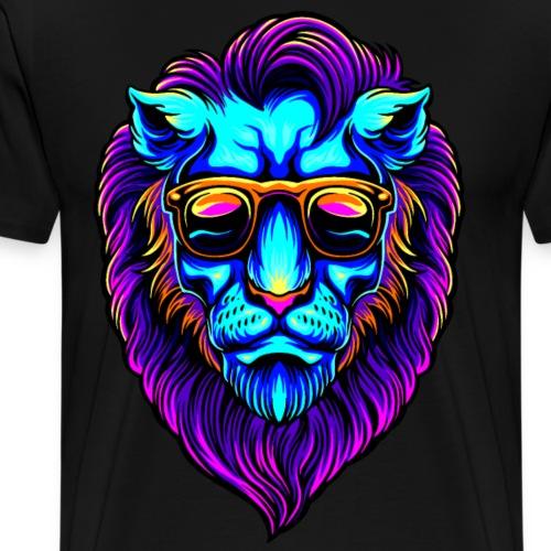 Cooler Raver Partylöwe mit Koteletten - Männer Premium T-Shirt