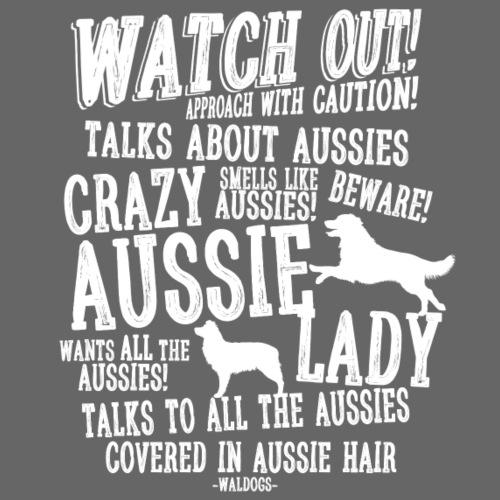 Crazy Aussie Lady White - Miesten premium t-paita